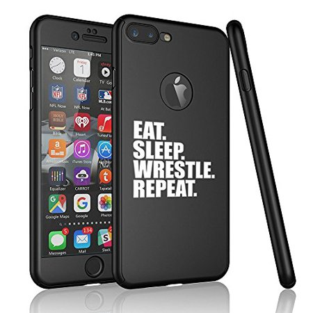 - For Apple iPhone 360° Full Body Thin Slim Hard Case Cover + Tempered Glass Screen Protector Eat Sleep Wrestle Repeat (Black For iPhone 6 / 6s)