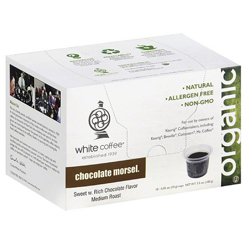 White Coffee Organic Chocolate Morsel Coffee, 3.5 oz, (Pack of 4)