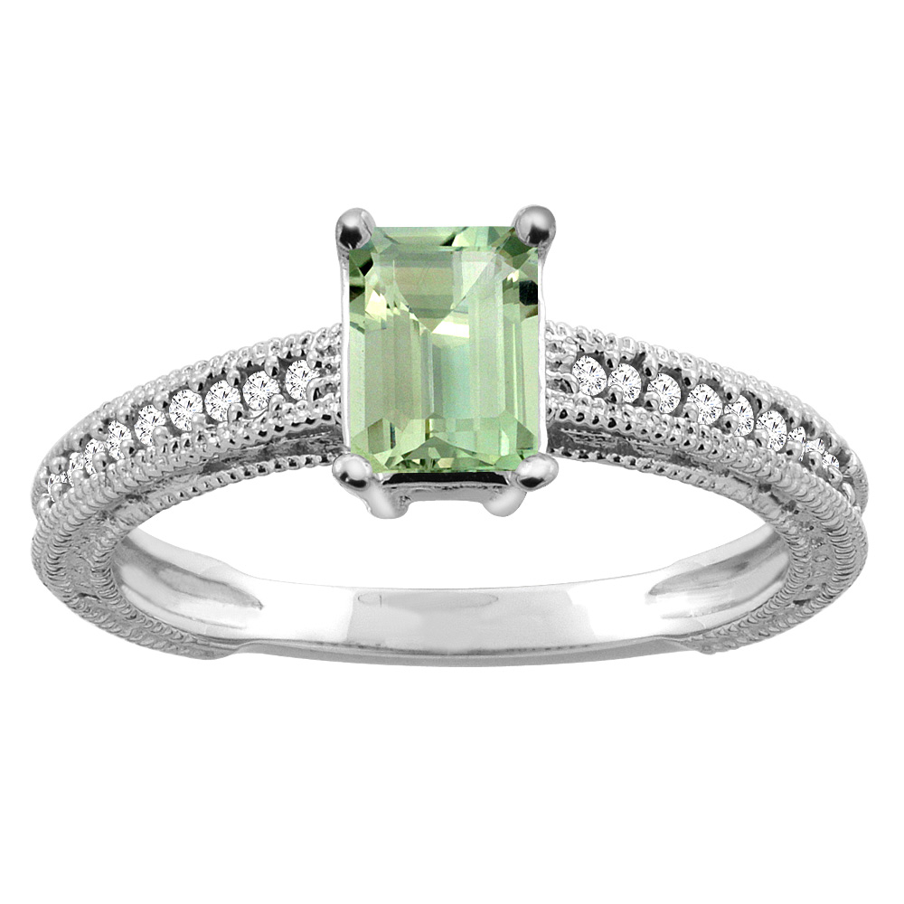 10K Gold Natural Green Amethyst Engagement Ring Octagon 8x6mm Diamond Accents, sizes 5 - 10