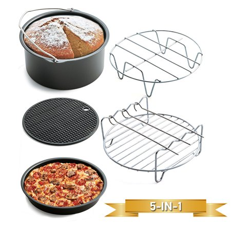 5 In 1 Air Fryer Accessories Set Frying Cage Dish Baking Pan Rack Pizza Tray Pot Tool Stainless Steel