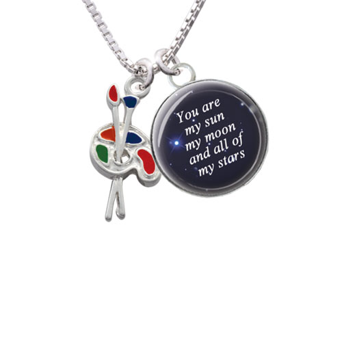 """Paint Palette You are My Sun Glass Dome Necklace, 18""""+2"""""""