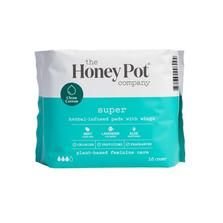 Super Herbal Menstrual Pads With Wings, 16 Count by The Honey Pot Company Llc