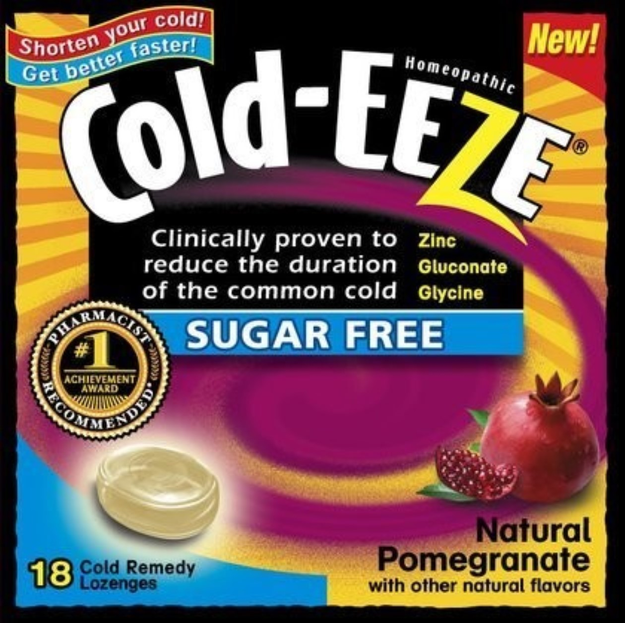 COLD-EEZE Lozenges Natural Pomegranate Sugar Free Box 18 Each (Pack of 4)