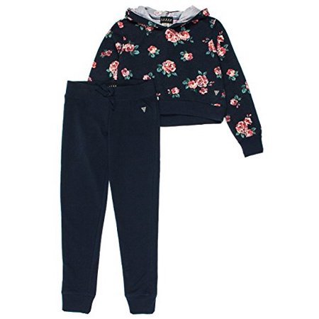 Guess Big Girls 2-Piece Cropped Hoodie & Lounge Pants Set - Navy