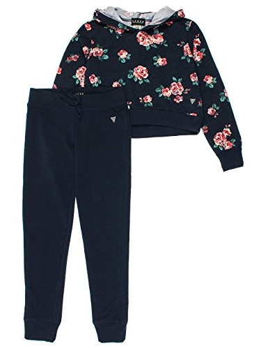 Guess Big Girls 2-Piece Cropped Hoodie & Lounge Pants Set - Navy