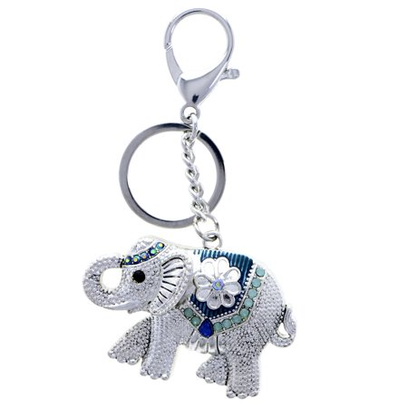 Elephant Flower AB Finish Split-Ring-Keychain W/ Trigger-Snap Silver-Tone/Blue - Elephant Keychain