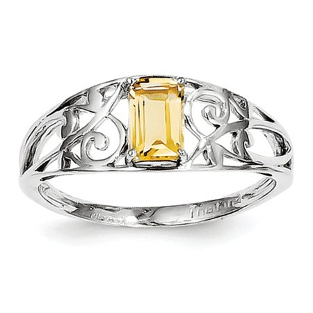 Sterling Silver Rhodium Plated Citrine Ring. Gem Wt- 0.48ct (Citrine Rhodium Plated)
