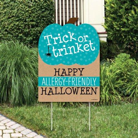 Teal Pumpkin - Halloween Allergy Friendly Trick or Trinket Welcome Yard Sign - Halloween Trinkets
