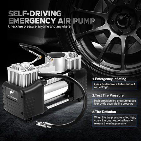 Audew Portable Air Compressor Pump Tire Inflator Pump Dual Cylinder + Gauge 12V 150 PSI Tire Pump for Car, Truck, Bicycle, and Other Inflatables - image 7 de 10