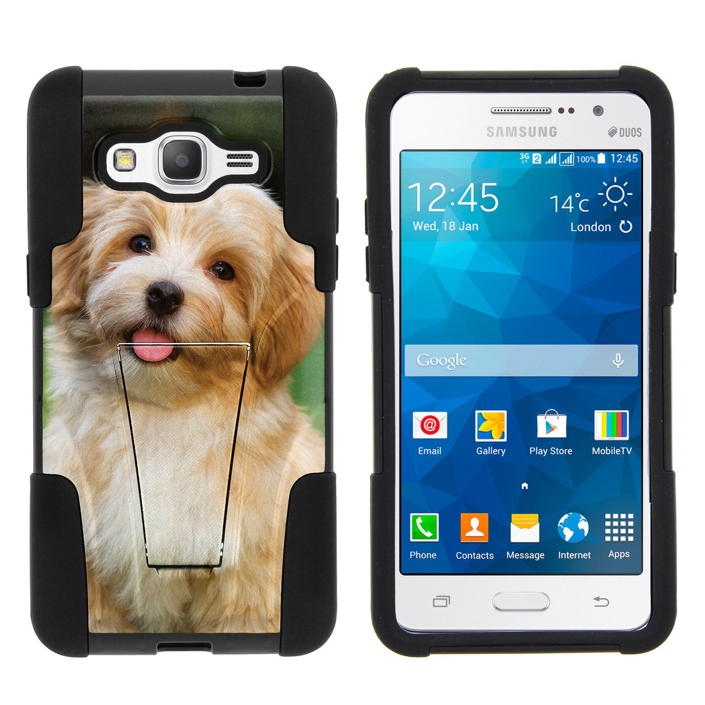 Samsung Galaxy Grand Prime G530 STRIKE IMPACT Dual Layer Shock Absorbing Case with Built-In Kickstand - Angry Bear