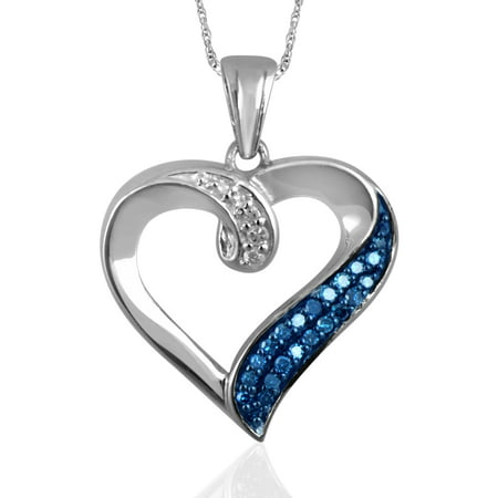 1/7 Carat T.W. Blue and White Diamond Sterling Silver Heart