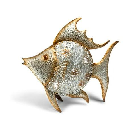 Gerson 71129EC-1 18 in. High Metal & Plastic Solar Angel Fish Yard Art, Silver - image 1 of 1