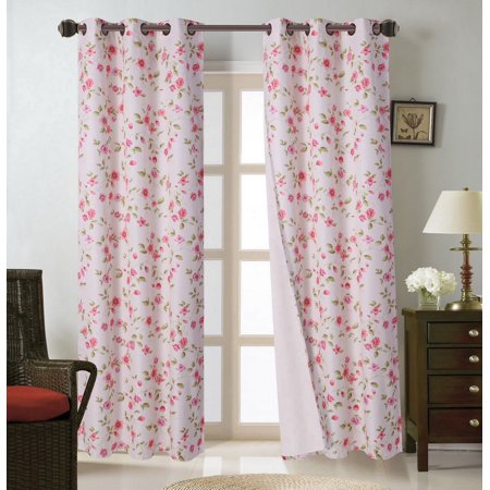FLORAL#10  2pc Cherry Blossom Blackout Lined Grommet Window Curtain Treatment Set, Two (2) Printed Room Darkening Panels 37