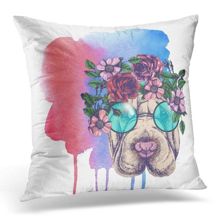 ARHOME Sharpei in The Roses Wreath and Round Sunglasses Chic Dog Portrait Raster for Your Blog Pillows case 18x18 Inches Home Decor Sofa Cushion Cover](Home Decor Blogs Halloween)