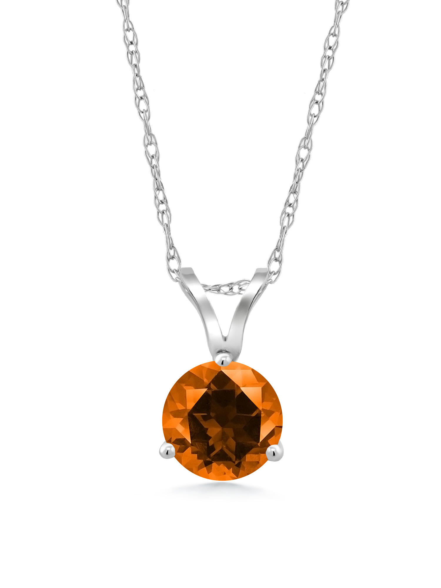 18K White Gold Pendant Set with Round Poppy Topaz from Swarovski