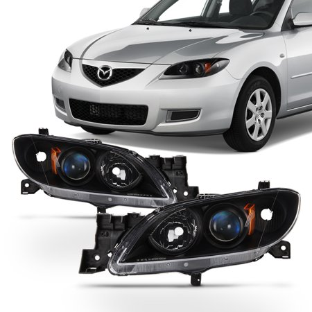 Mazda Mpv Replacement Headlight - Fit Black 2004-2009 Mazda 3 Sedan Halogen Type Projector Headlights Replacement