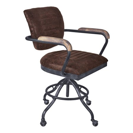 Awesome Brice Modern Office Chair In Industrial Grey Finish And Brown Fabric Spiritservingveterans Wood Chair Design Ideas Spiritservingveteransorg