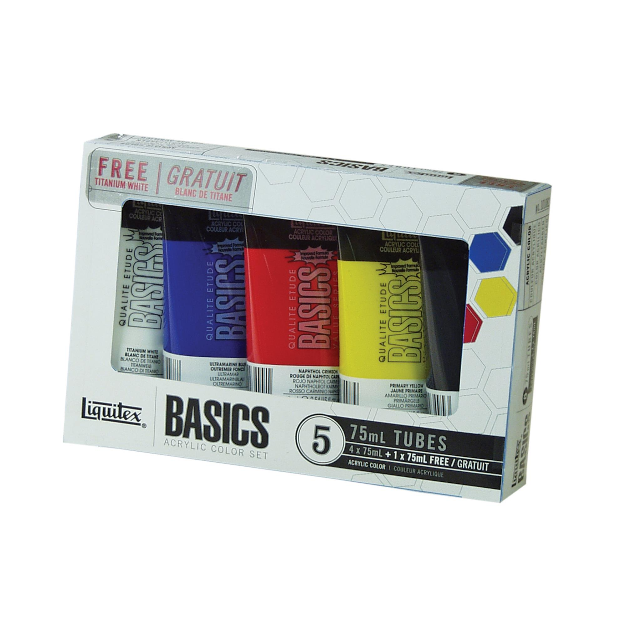 Liquitex BASICS Acrylic Paint 75ml/Tube, 5-Piece Set