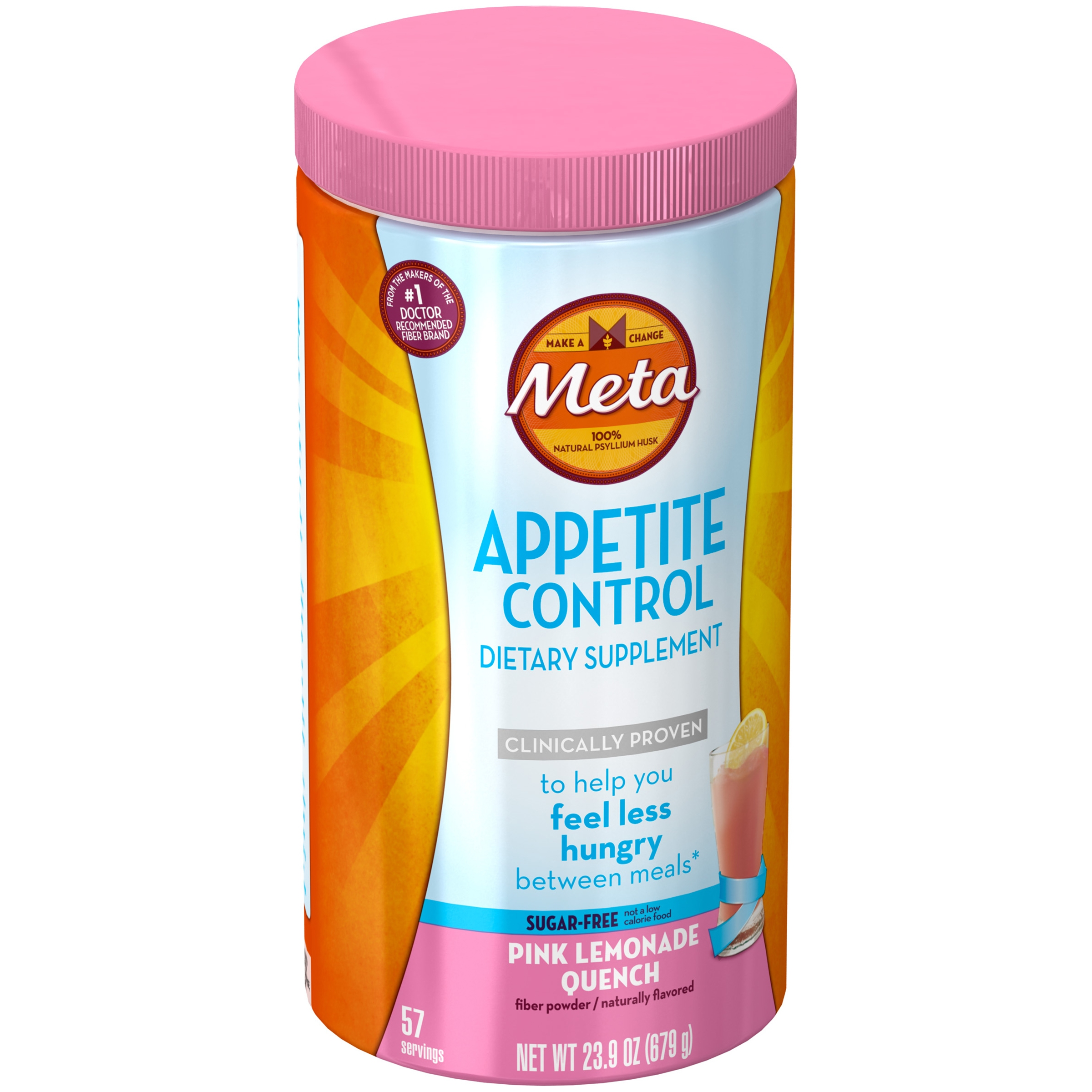 Meta Appetite Control Dietary Supplement, Sugar-Free Pink Lemonade Quench, 57 servings