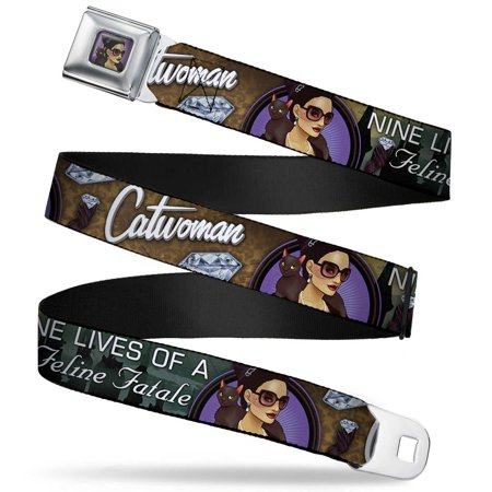 Catwoman Bombshell Face Full Color Purple Catwoman Nine Lives Of A Feline Seatbelt Belt Standard - Catwoman Belt