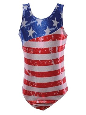 Reflectionz Girls Red White Blue American Flag Print Tank Leotard 8