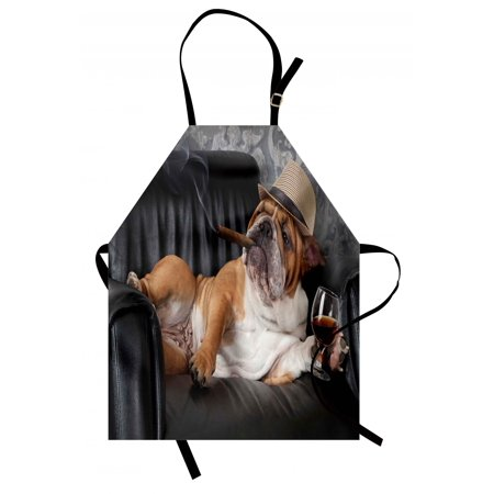 Bulldog Apron - Bulldog Apron Humorous Photo of a Gentleman Dog Resting in a Chair with Glass of Drink and Cigar, Unisex Kitchen Bib Apron with Adjustable Neck for Cooking Baking Gardening, Multicolor, by Ambesonne