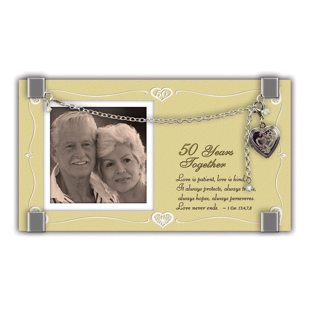 Silver-tone Bracelet Locket 50 Years Together Glass 2in. ...