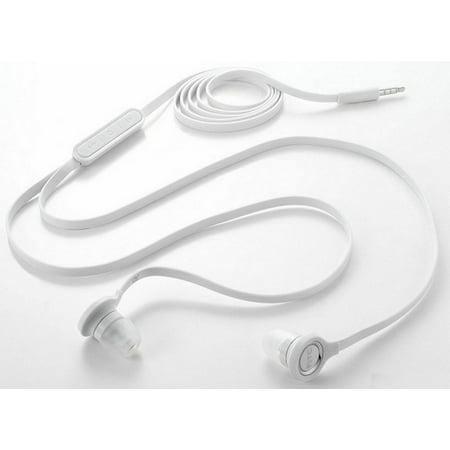 Flat Wired Earphones OEM Handsfree Earbuds w Mic Headset Headphones In-Ear 3.5mm Stereo [White] B5W for iPhone 5 5C 5S 6 Plus 6S Plus SE - Google Pixel XL - HTC 10 - Huawei P10 P9 - LG G Pad 10.1