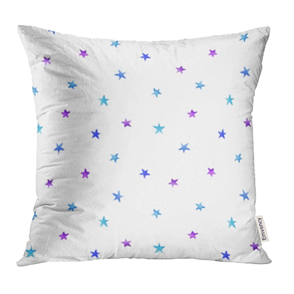 USART Starry Sky Hand Ombre Blue Violet Watercolor Stars Magic Stellar Winter Pillowcase Cushion Cover 16x16 inch