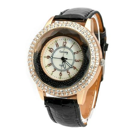 New Vogue Women Crystal Dial Quartz Analog Leather Bracelet Luxury Wrist Watch Black