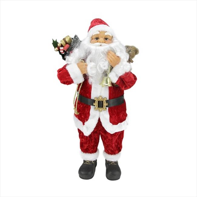 NorthLight 24 inch Traditional Red Standing Santa Claus W...