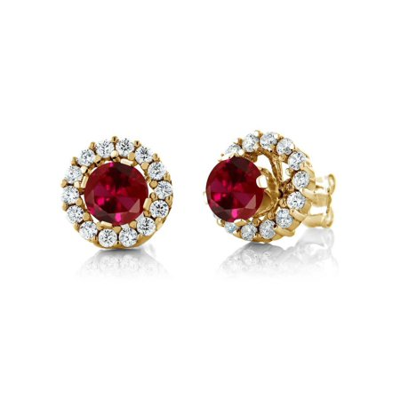 1.59 Ct Round Red Created Ruby Yellow Gold Plated Silver Earrings with Jackets