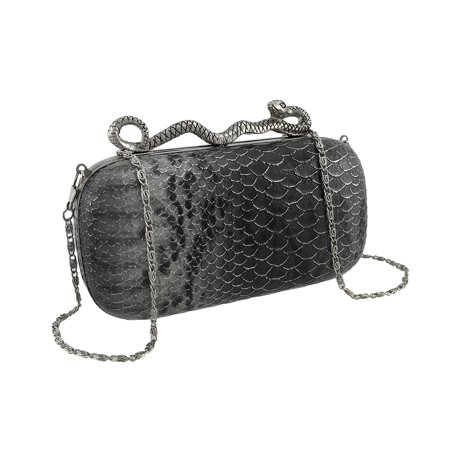 Snakeskin Textured Clutch Evening Bag with Snake (Snake Bow Clutch)