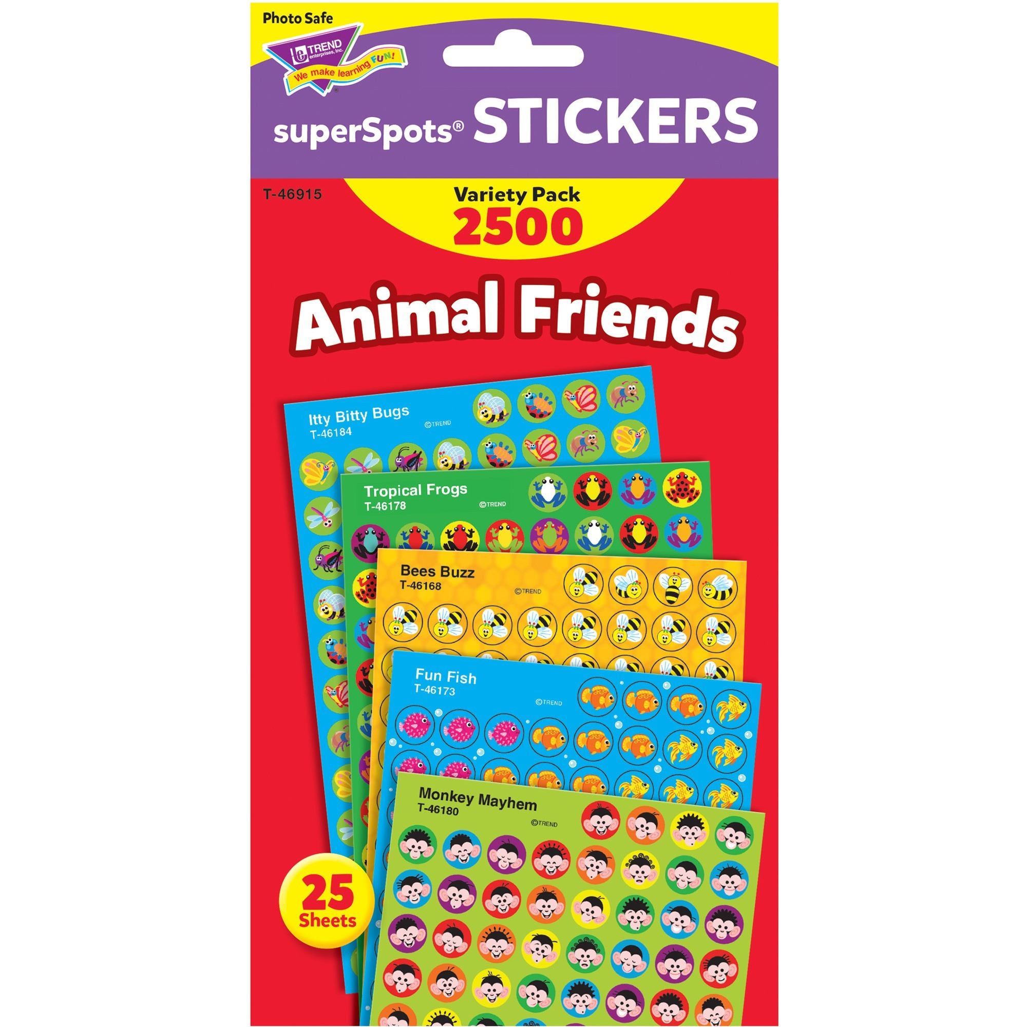 Trend, TEP46915, Animal Friends SuperShapes Stickers, 2500 / Pack, Multicolor