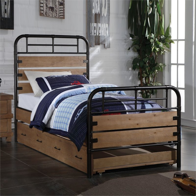 ACME Furniture Adams Twin Slat Bed in Antique Oak