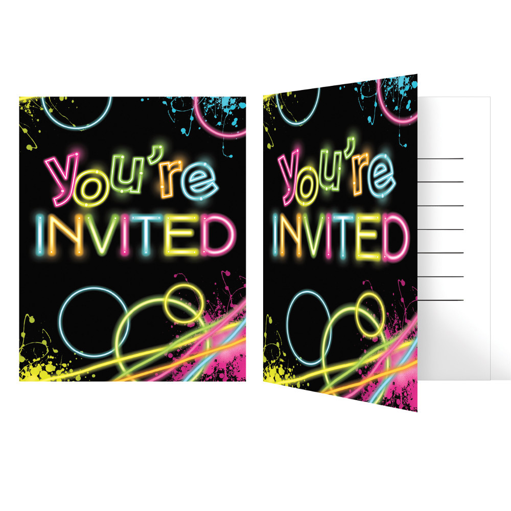 Glow Party Invitations, 8-Pack - Walmart.com