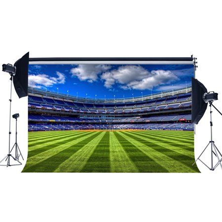 HelloDecor Polyster 7x5ft Football Field Backdrop Stadium Green Grass Meadow Crowd Flags Blue Sky White Cloud Sports Game Match Photography Background Boys Adults Happy Birthday Photo Studio Props (Football Stadium Backdrop)