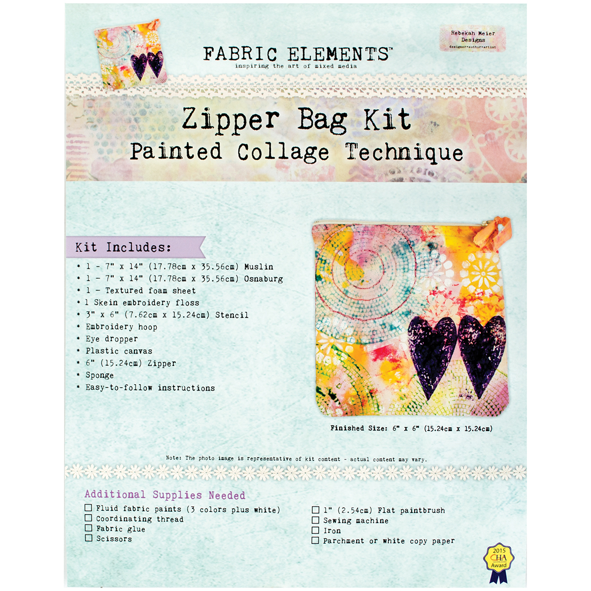 Fabric Elements 6 Inch X 6 Inch Zipper Bag Kit