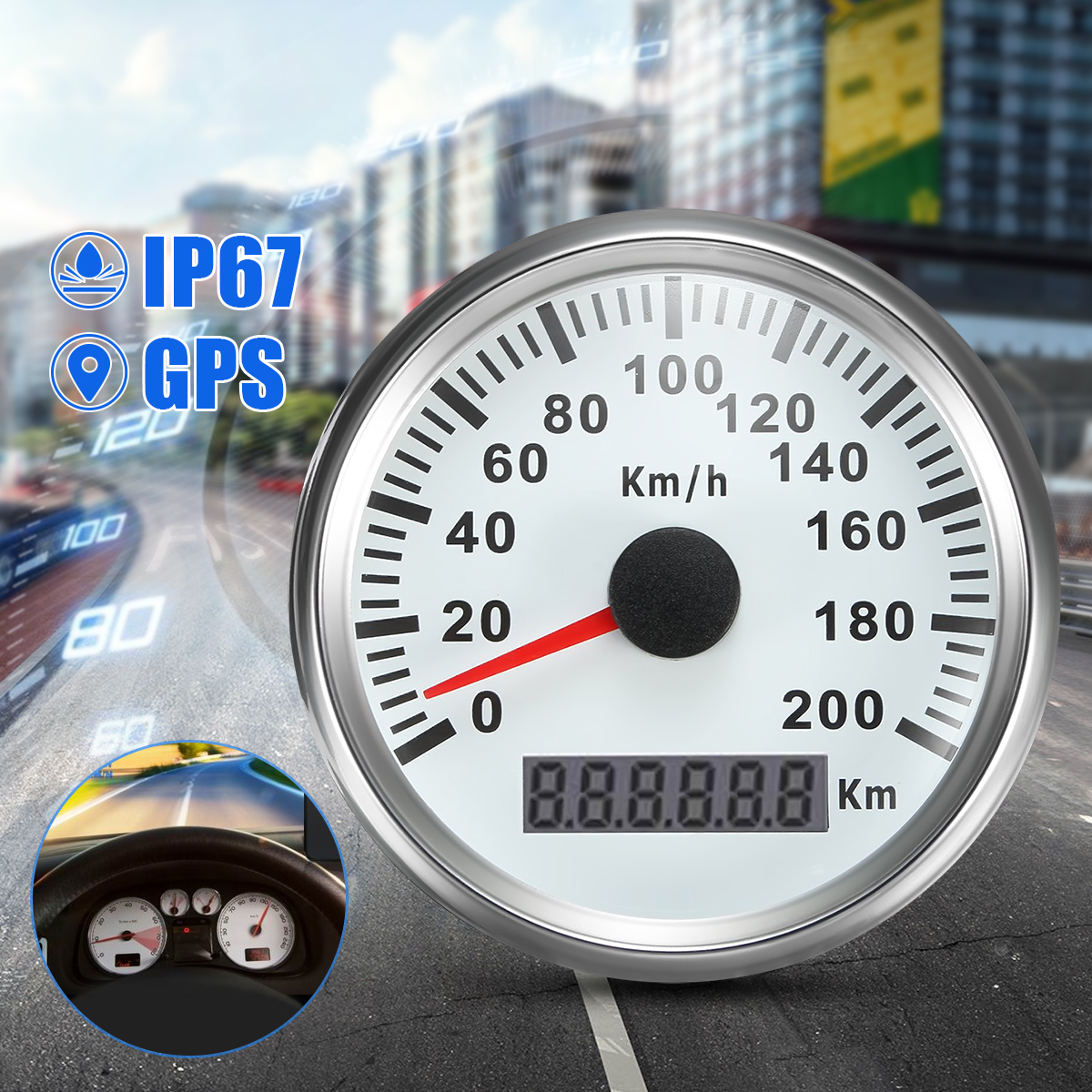 "White Stainless Steel Waterproof Auto Car GPS Speedometer 200KM/H Digital Gauge 200km 3.35"" Inch"