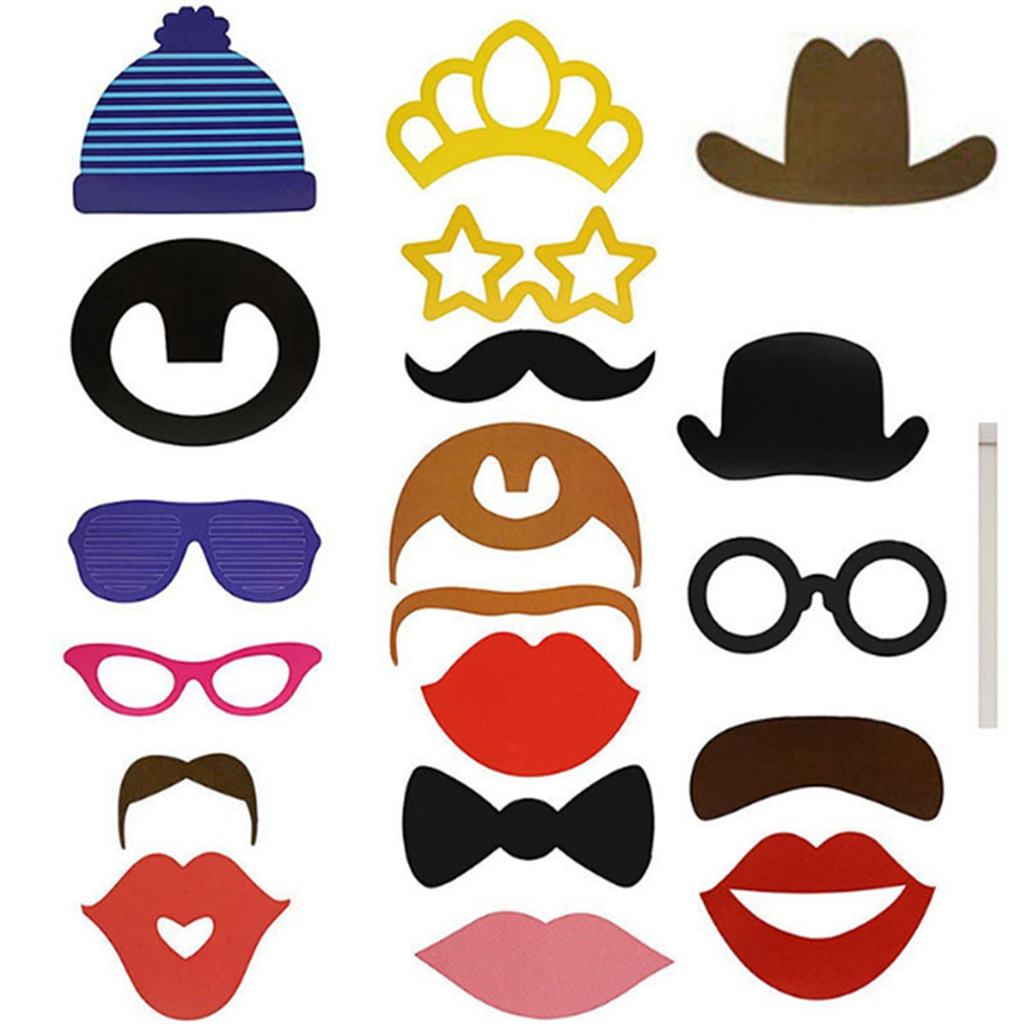 24PCS DIY Mask Photo Booth Props Mustache On A Stick Wedding Birthday Party