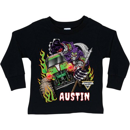Personalized Monster Jam Grave Digger And Grim Black Long Sleeve Tee, Youth, Black - Grave Digger Halloween