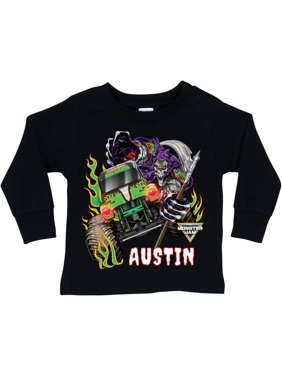 Personalized Monster Jam Grave Digger And Grim Black Long Sleeve Tee