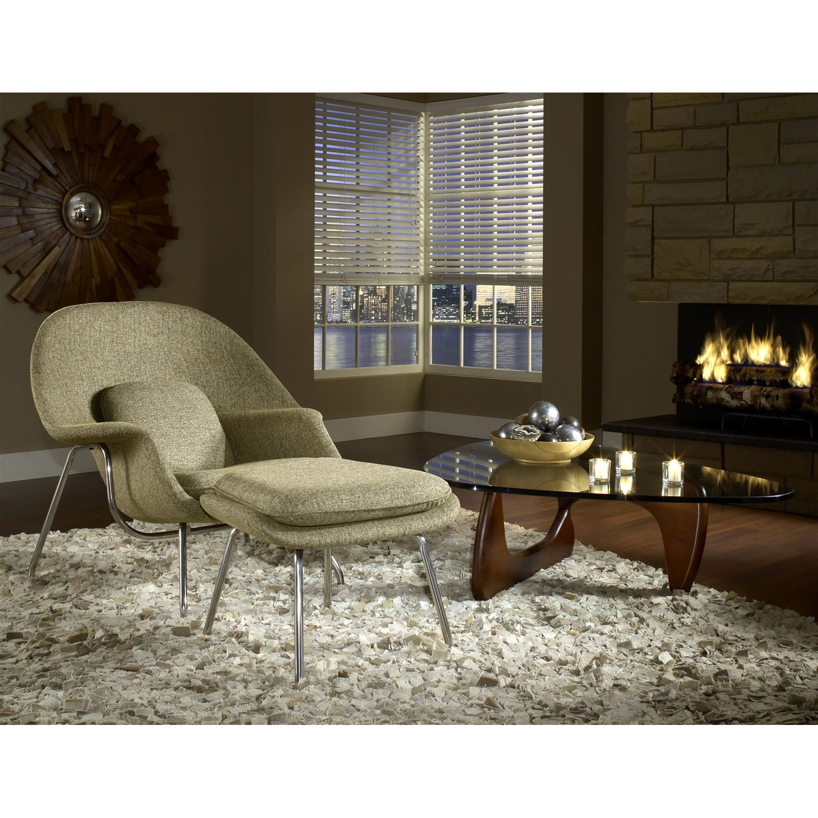 Modway 3-Piece Living Room Chair, Ottoman and Table Set in Oatmeal