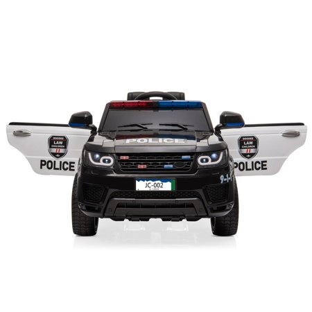 Ktaxon Kids Ride On Car Police Car Double Drive Rechargeable 12V Battery Powered w/ RC Remote Control, MP3 Player, LED Lights, 3 Speed