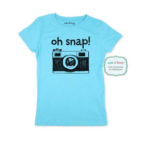 Oh snap! Camera - wallsparks cute & funny Brand - Youth Young Girls Juniors Slim Fit Soft Tee Shirt - Fun Trendy - Hot Young Teen Girls