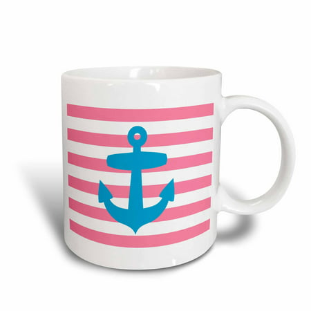 3dRose Nautical light blue anchor with coral red or pink sailor stripes pattern - French Breton Stripe, Ceramic Mug, 11-ounce