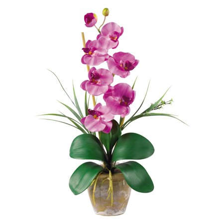 Nearly Natural Phalaenopsis Silk Orchid Flower Arrangement, Mauve ()
