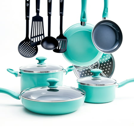Greenlife Diamond Ceramic Non-stick 13Pc Cookware Set, Turquoise