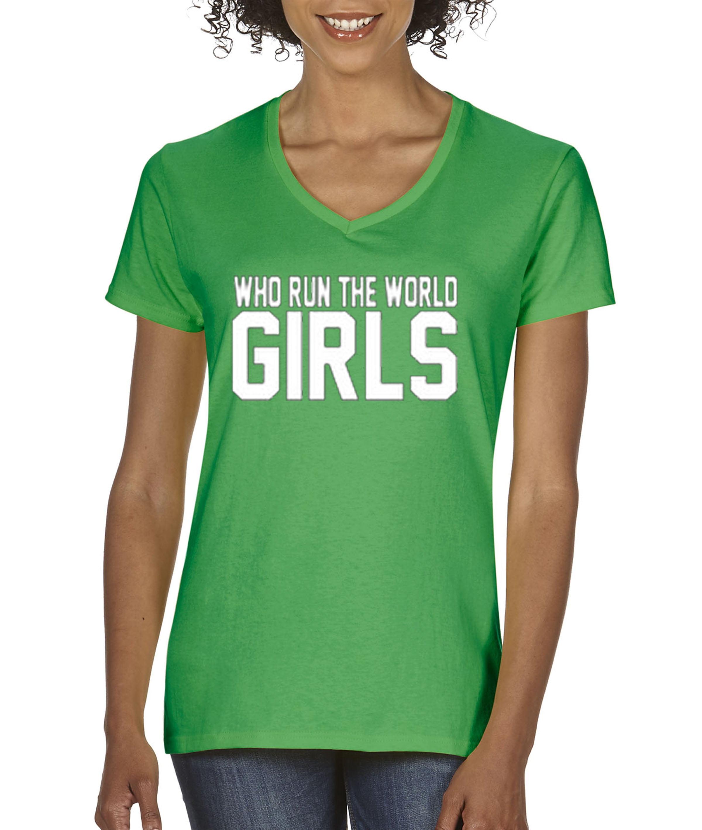 New Way 383 Women's V-Neck T-Shirt Who Run The World Girls by