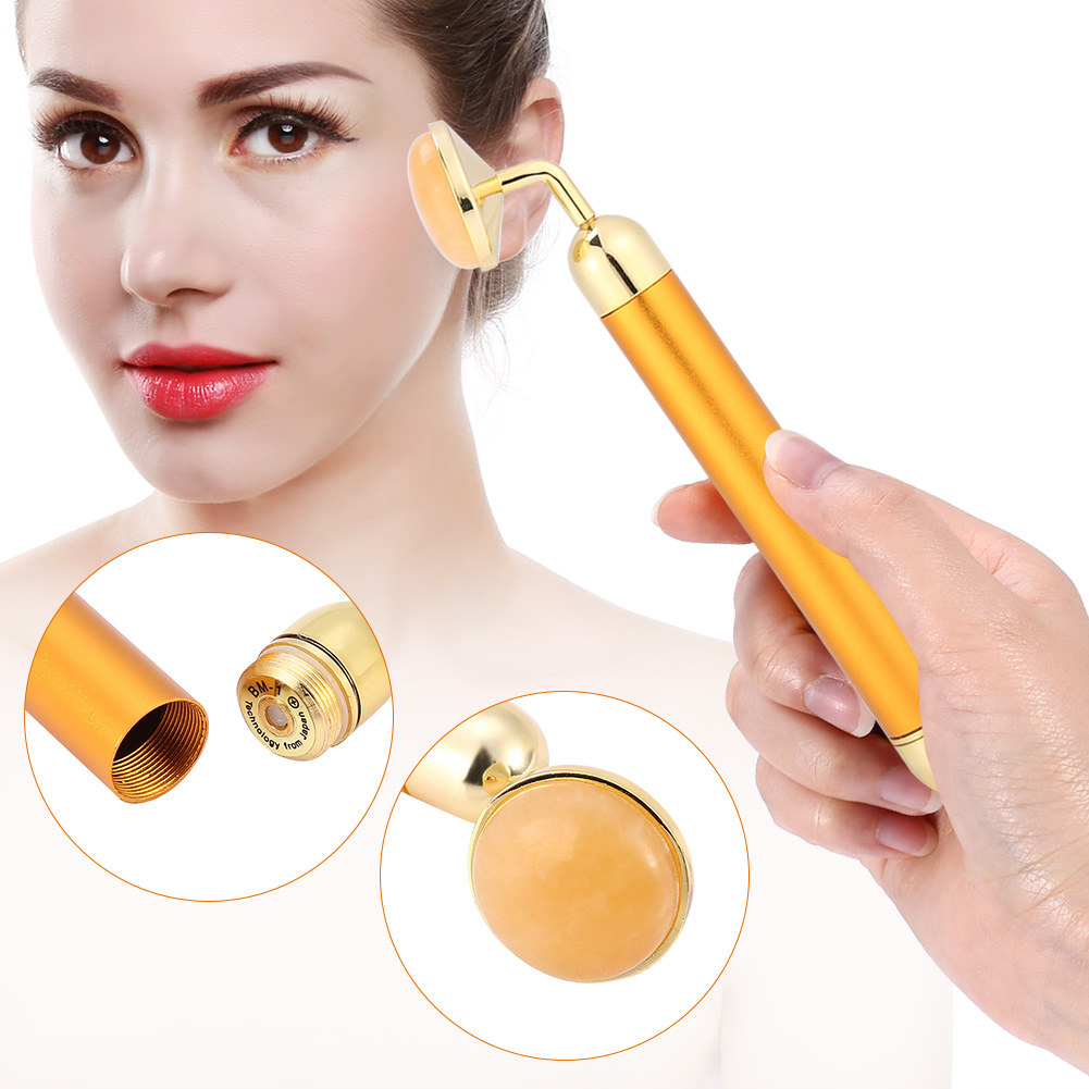 24K Gold Electric Facial Massager 3D Roller Face Massager Anti Eye Wrinkle Face Slimming For Sensitive Skin Face Pull Tight Firming Lift Gift for Women Mom Friend